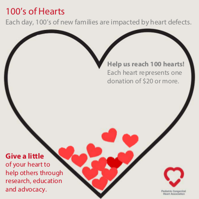 100's of Hearts - Donate today!